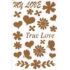 Rub on true love glitter goud