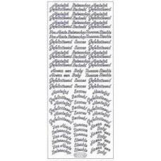 Stickervel diverse teksten zilver