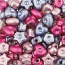 Assortie Acrylkralen1  roze/paars