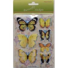3D stickervel vlinders geel 1
