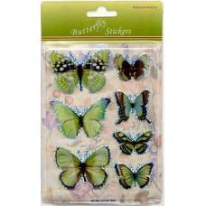 3D stickervel vlinders groen 1